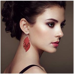 Red layered leather earrings